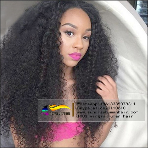 Hot selling!heavy density kinky curly brazilian lace front wig,300% density free part lace front human hair wig ,medium cap ,natural color .