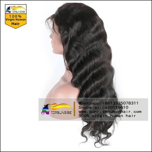 Wholesale 100% Human hair body wave lace front wig glueless,300% density lace front wig with baby hair