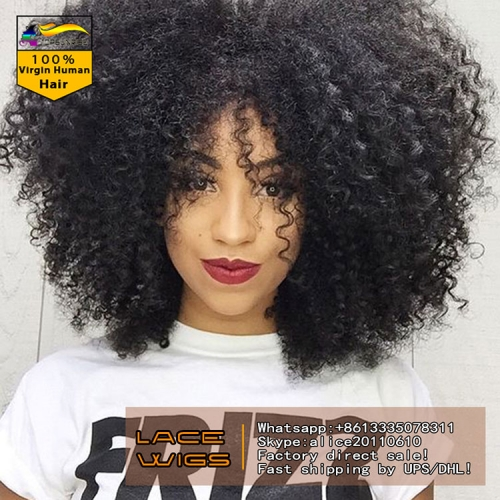 100% Human hair  high density afro kinky curly lace front wig glueless,300% density virgin hair lace front  wig with baby hair