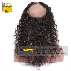 100% human hair Pre Plucked  360 Lace Frontal Closure  Virgin human Hair curly 360 lace Frontal With Natural Hairline Baby Hair