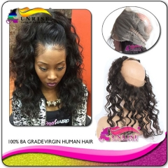 Factory direct sales Pre Plucked  360 Lace Frontal Closure Malaysian Virgin Hair loose wave 360 Frontal With Natural Hairline Baby Hair
