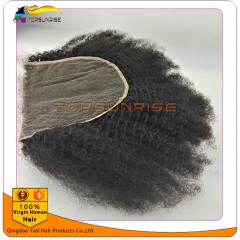 "Top Quality 8A virign brazilian afro kinky curly Lace Closure Bleached Knots 4x4"",5x5""  Virgin Hair top Closure  free/middle/3 Part Lace Closure"