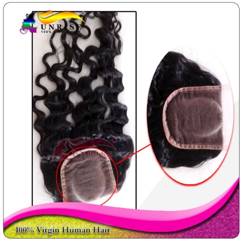"wholesale 8A Grade virign brazilian hair curly Lace Closure Bleached Knots 4x4"",5x5""  Virgin Hair top Closure  O  Part Lace Closure"