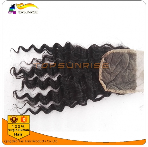 "Top Quality 8A virign malaysian hair deep wave Lace Closure Bleached Knots 4x4"",5x5""  Virgin Hair top Closure  free/middle/3 Part Lace Closure"