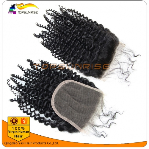 "wholesale 8A virign peruvian hair kinky curly Lace Closure Bleached Knots 4x4"",5x5""  Virgin Hair top Closure  free/middle/3 Part Lace Closure"