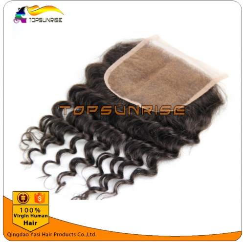 "wholesale 8A Grade virign malaysian hair curly top Lace Closure Bleached Knots 4x4"",5x5""  Virgin Hair top Closure  free/middle/3 Part Lace Closure"