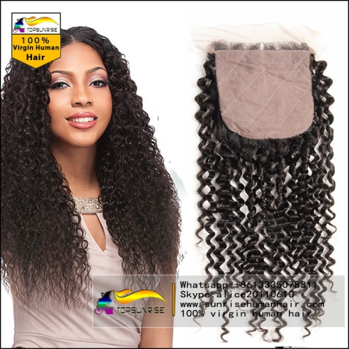 "8A virign brazilian hair kinky curly silk base Closure Bleached Knots 4x4"", Virgin Hair silk closure free/middle/3 Part silk base top Closure"