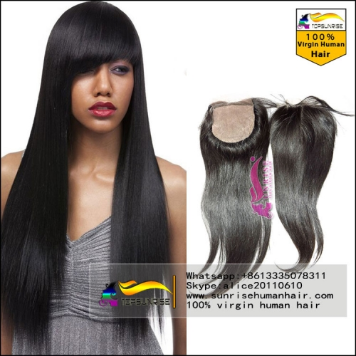 Factory direct  sales top quality 8A virgin brazilian silky straight silk base closure free/middle/3 Part silk base lace Closure with baby hair