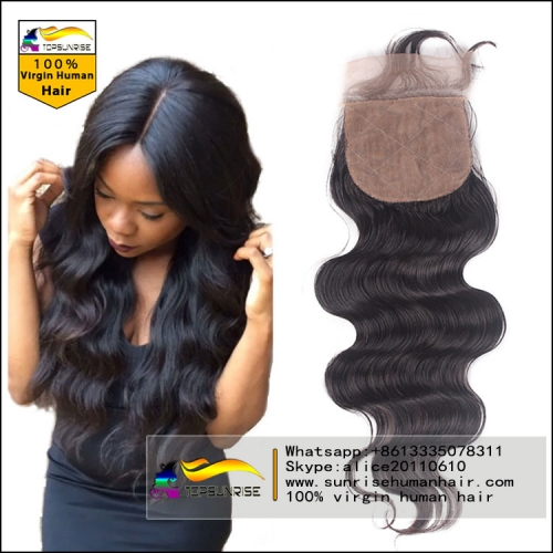 "8A virign brazilian hair body wave silk base Closure Bleached Knots 4x4"", Virgin Hair silk closure free/middle/3 Part silk base top Closure"