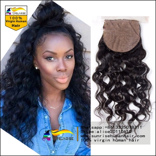 "8A virgin malaysian hair loose wave silk base Closure Bleached Knots 4x4"", Virgin Hair silk closure free/middle/3 Part silk base top Closure"