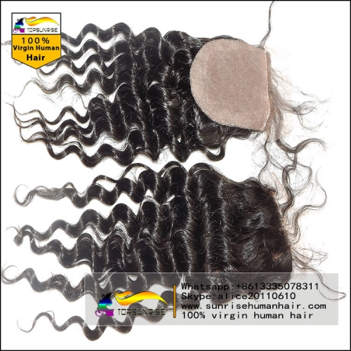 "8A virign brazilian hair curly silk base Closure Bleached Knots 4x4"", Virgin Hair silk closure free/middle/3 Part silk base top Closure"