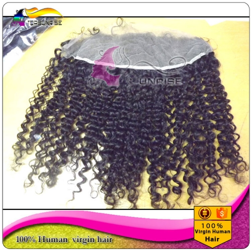"wholesale 8A virign Brazilian human hair free Part Lace frontal Bleached Knots 13x2"",13x,4"",13x6"",  kinky curly Lace frontal with baby hair"