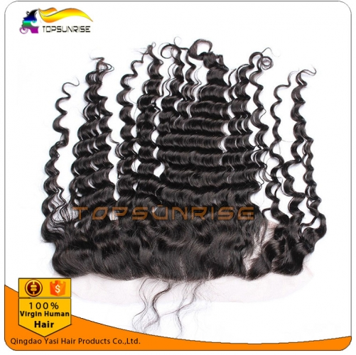 "wholesale 8A virign malaysian hair deep wave Lace frontal Bleached Knots 13x2"",13x,4"",13x6"",  Free/Middle/three Part Lace frontal with baby hair"
