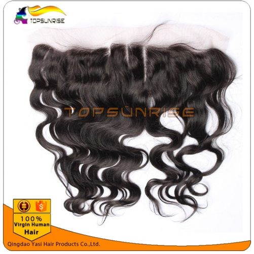 "wholesale 8A virign brazilian hair body wave Lace frontal Bleached Knots 13x2"",13x,4"",13x6"",  Free/Middle/3 Part Lace frontal closure with baby hair"