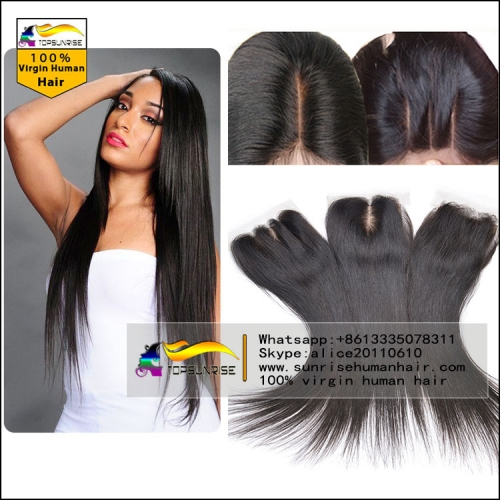 "8A virign malaysian hair silk straight silk base Lace Closure Bleached Knots 4x4"", Virgin Hair silk closure free/middle/3 Part silk base top Closure"