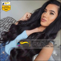Wholesale 100% Human malaysian hair body wave lace front wig glueless,300% density lace front wig with baby hair