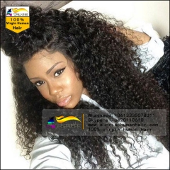 Factory price Free shipping 100% Human hair 300% density  curly lace front wig glueless,high density human hair lace front  wig with baby hair