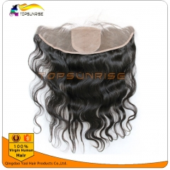 wholesale 8A virign brazilian human hair silk base Lace frontal Bleached Knots 13x4 lace ,4x4 silk base body wave frontal bleached knots