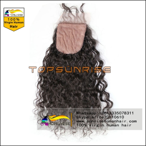 Factory direct  sales top quality 8A virgin brazilian curly silk base closure free/middle/3 Part silk base lace Closure with baby hair