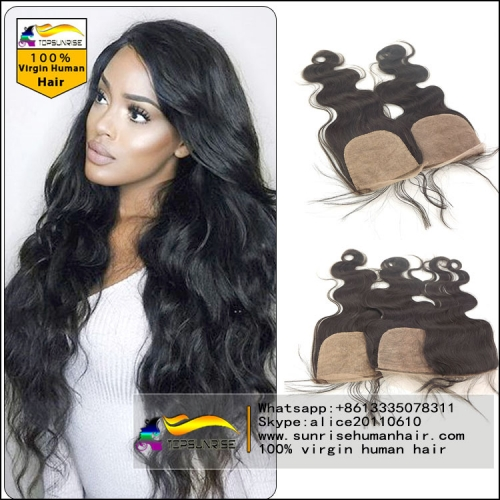 "Top Quality 8A virign malaysian hair silk base Lace Closure Bleached Knots 4x4"", Virgin Hair silk closure free/middle/3 Part silk base top Closure"