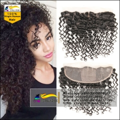 Hot selling 8A virign human hair silk base Lace frontal Bleached Knots 13x4 lace ,4x4 silk base curly lace frontal with baby hair