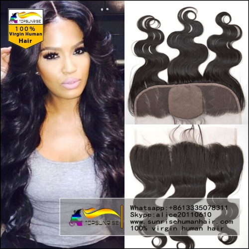 Hot selling 8A virign human malaysian silk base Lace frontal Bleached Knots 13x4 lace ,4x4 silk base body wave lace frontal closure with baby hair