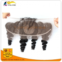 Hot selling 8A virign human hair silk Lace frontal Bleached Knots 13x4 lace ,4x4 silk base loose wave lace frontal with baby hair