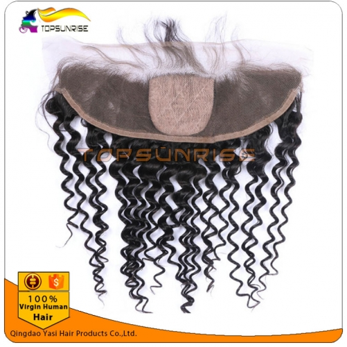 Hot selling 8A virign brazilian human hair silk base Lace frontal Bleached Knots 13x4 lace ,4x4 silk base curly lace frontal with baby hair