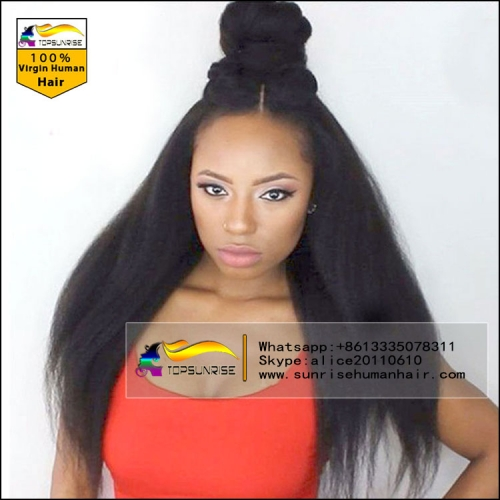 Wholesale 100% Human hair 300% density yaki straight lace front wig glueless,high density yaki lace front  wig with baby hair