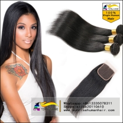 Top 8A Brazilian Virgin Hair With Closure,Straight Hair,Lace Closure With 3 Bundles,hair weaving with closure
