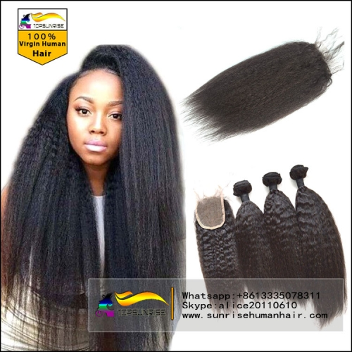 Top 8A Virgin Hair With kinky straight lace Closure, Lace Closure With 3pcs kinky straight hair Bundles,hair weaving with closure