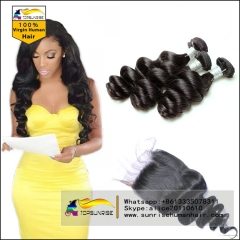 Top 8A  loose wave  Virgin Hair With Closure, loose wave Lace Closure With 3 hair Bundles,hair weaving with closure