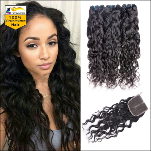 Top 8A Virgin Hair With loose curly lace Closure, Lace Closure With 3pcs loose curly hair Bundles,hair weaving with closure