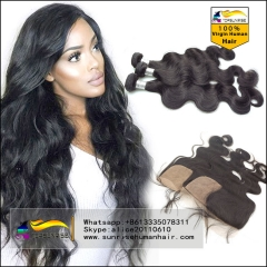 Brazilian  body wave Virgin Hair Human Hair Weave 3 Bundles With Silk Closure Hair Weft With Silk Closure Hair Extensions 3pcs Lot
