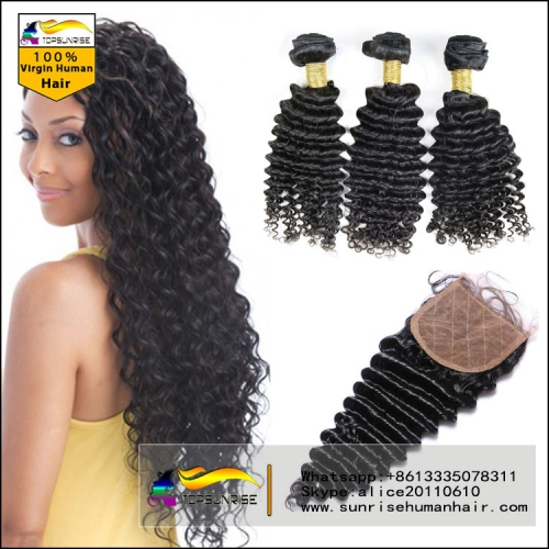 Virgin Brazilian deep wave Virgin Hair Human Hair Weave 3 Bundles With Silk top Closure ,deep wave Hair Weft With Silk Closure 3pcs Lot