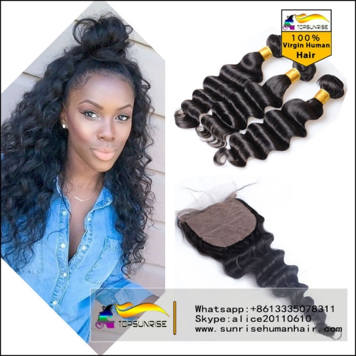 Virgin Brazilian loose wave Virgin Hair Human Hair Weave 3 Bundles With Silk Closure Hair Weft With Silk Closure Hair Extensions 3pcs Lot