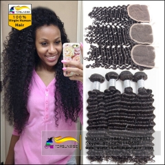 Top 8A Virgin Hair With deep curly lace Closure, Lace Closure With 3pcs deep curly hair Bundles,hair weaving with closure