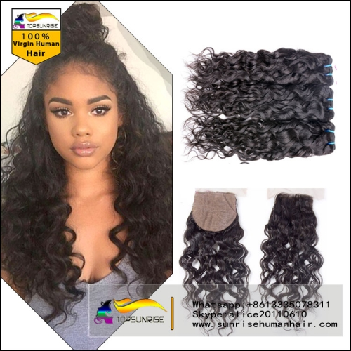 Virgin Brazilian loose curly Virgin Hair Human Hair Weave 3 Bundles With Silk top Closure Hair Weft With Silk Closure Hair Extensions 3pcs Lot