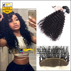Lace Frontal Closure With Bundles 4 Bundles With Closure brazilian deep curly With Lace Frontal 360 Lace Front Human Hair