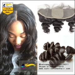 Silk Base Frontal with Bundles Malaysian Virgin Hair Loose Wave 13x4 Lace Frontal Closure with Bundles Human Hair With Closure