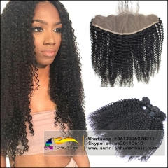 Lace Frontal Closure With Bundles kinky Curly  8A Malaysian Virgin Hair 4 Bundles With Frontal Malaysian kinky Curly Hair With Frontal