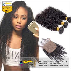 Virgin Brazilian kinky curly Virgin Human Hair Weave 3 Bundles With Silk top Closure ,kinky curly Hair Weft With Silk Closure 3pcs Lot