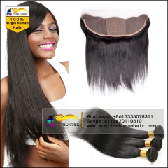 Silk base Lace Frontal Closure With Bundles silk straight  8A Malaysian Virgin Hair 4 Bundles With Frontal Malaysian Hair With silk base Frontal