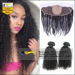 Silk Base Frontal with Bundles Malaysian Virgin Hair kinky curly 13x4 Lace Frontal Closure with Bundles Human Hair With Closure