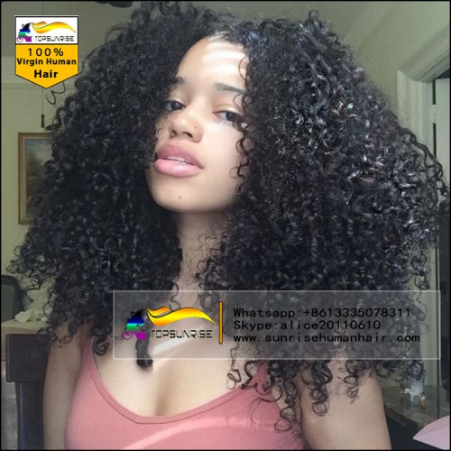 Free shipping lace wig,100% Human hair 300% density afro kinky curly malaysian hair lace wig , high density lace front human hair wig with baby hair