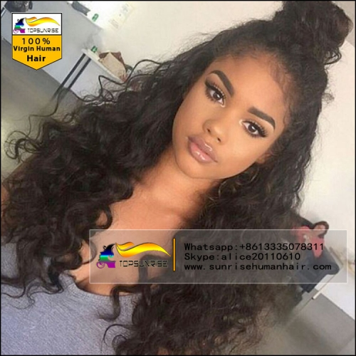 Fashion style lace wig,100% Human hair 300% density loose curly malaysian hair lace wig , high density lace front human hair wig with baby hair