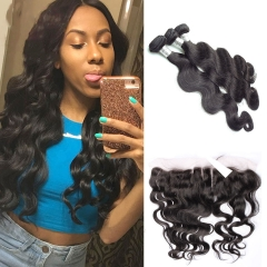 Full 13x4 Ear To Ear Lace Frontal Closure With Bundles Mink Brazilian Body Wave Hair Weave 3 Bundles With Lace Frontal Closure