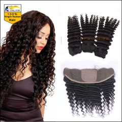 Silk Base Frontal with Bundles Malaysian Virgin Hair deep Wave 13x4 Lace Frontal Closure with Bundles Human Hair With Closure