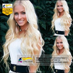 Hot selling blonde Full Lace  Wigs  613/60/27  Brazilian Virgin Hair  body wave full lace Human Hair Wigs for Black/White Women
