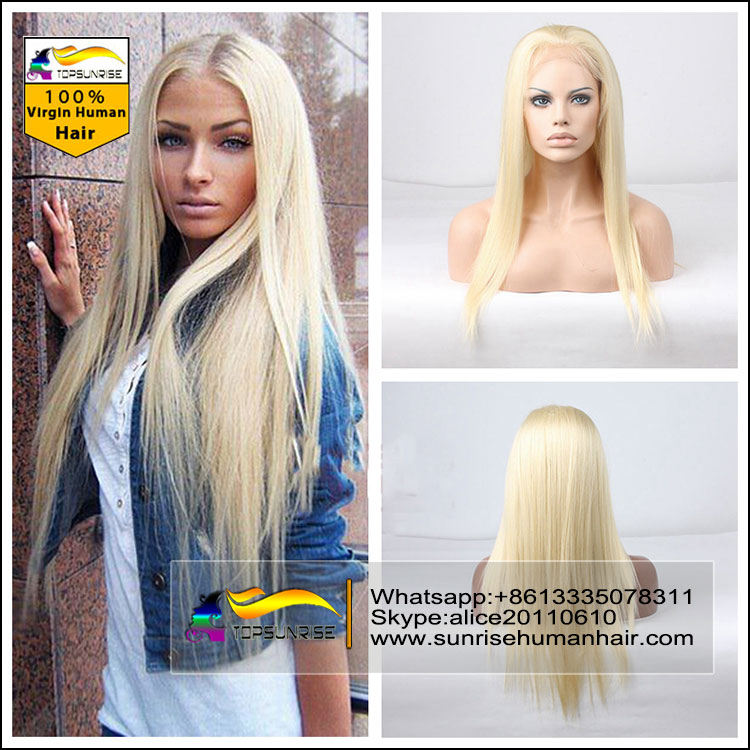 10a Full Lace Human Hair Wigs Blonde 613 Brazilian Virgin